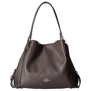 COACH Polished Pebbled Leather Light Gold/Chestnut Edie 31 Shoulder Bag