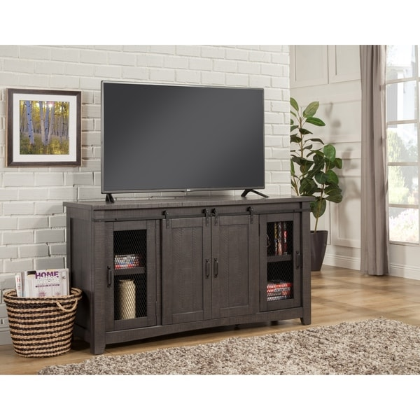 """Martin Svensson Home Sierra 65"""" Grey TV Stand - 65 inches in width. Opens flyout."""