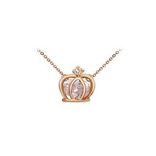 Rose Gold Gem Crown Pendant Necklace by Kauri Design