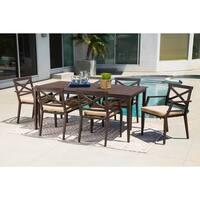Abbyson Cayman Sunbrella Beige Outdoor Patio 7 Piece Dining Set