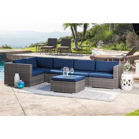 Abbyson Newport Outdoor Grey Wicker Modular Patio Sectional