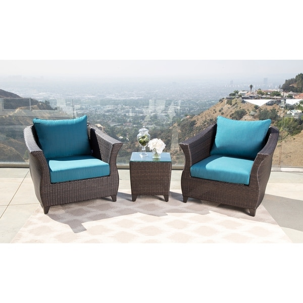 Shop Abbyson Laguna Sunbrella Outdoor Wicker 3 Piece Patio Chair Set