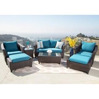 Abbyson Laguna Sunbrella Outdoor Wicker 7 Piece Seating Set
