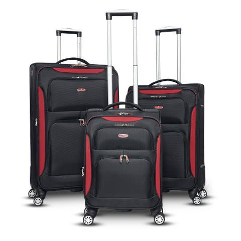 Gabbiano Glasgow Collection 3-Pieces Softside Upright Spinner Set