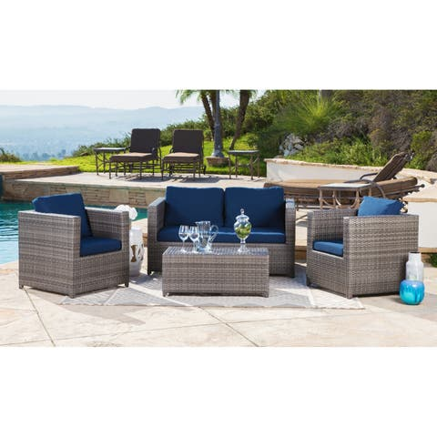 Abbyson Colette Outdoor Grey Wicker 4 Piece Patio Set