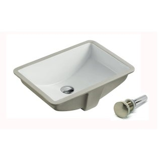 LARGE ARIEL 21.5 Inch Rectrangle Undermount Vitreous Ceramic Lavatory Vanity Bathroom Sink With Umbrella Pop Up Drain