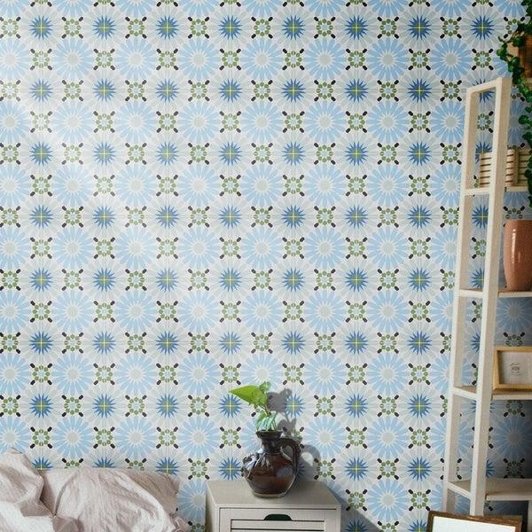 Handmade Alhambra Blue, Green, Black Tile, Pack of 12 (Morocco). Opens flyout.