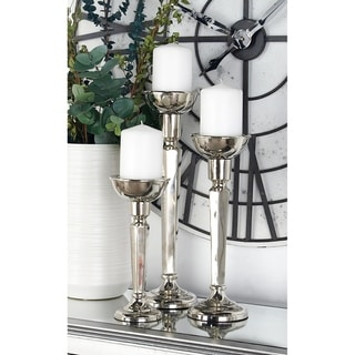 Set of 3 Modern Aluminum Tapered and Faceted Silver Candle Holders