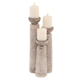 The Gray Barn Jartop Set of 3 Rustic Mango Wood Flourished Cylindrical Candle Holders