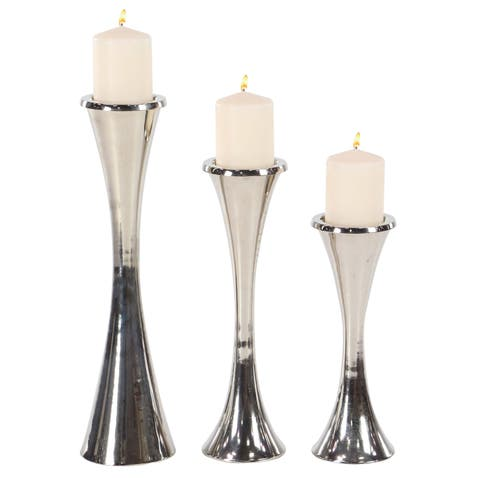 Strick & Bolton Buri Tapered Silver Candle Holders (Set of 3)