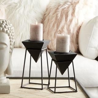 "Modern Black Wood Metal Candle Holders Set of 2 - 5"" x 8"", 5"" x 10"""