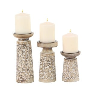 Set of 3 Mango Wood and Iron Carved Floral Candle Holders
