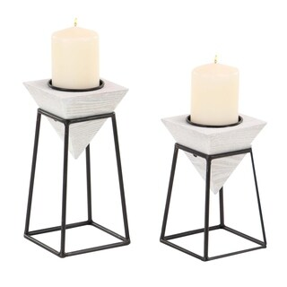 Carson Carrington Alavus Set of 2 Modern White Inverted Pyramid Candle Holders with Stands