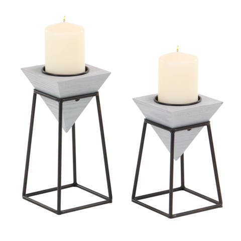 Carson Carrington Alavus Set of 2 Modern Grey Inverted Pyramid Candle Holders with Stands