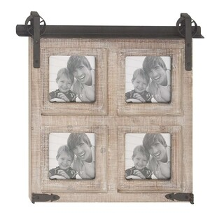 The Gray Barn Jartop Rustic 4-Opening Wood and Iron Square Brown Wall Photo Frame