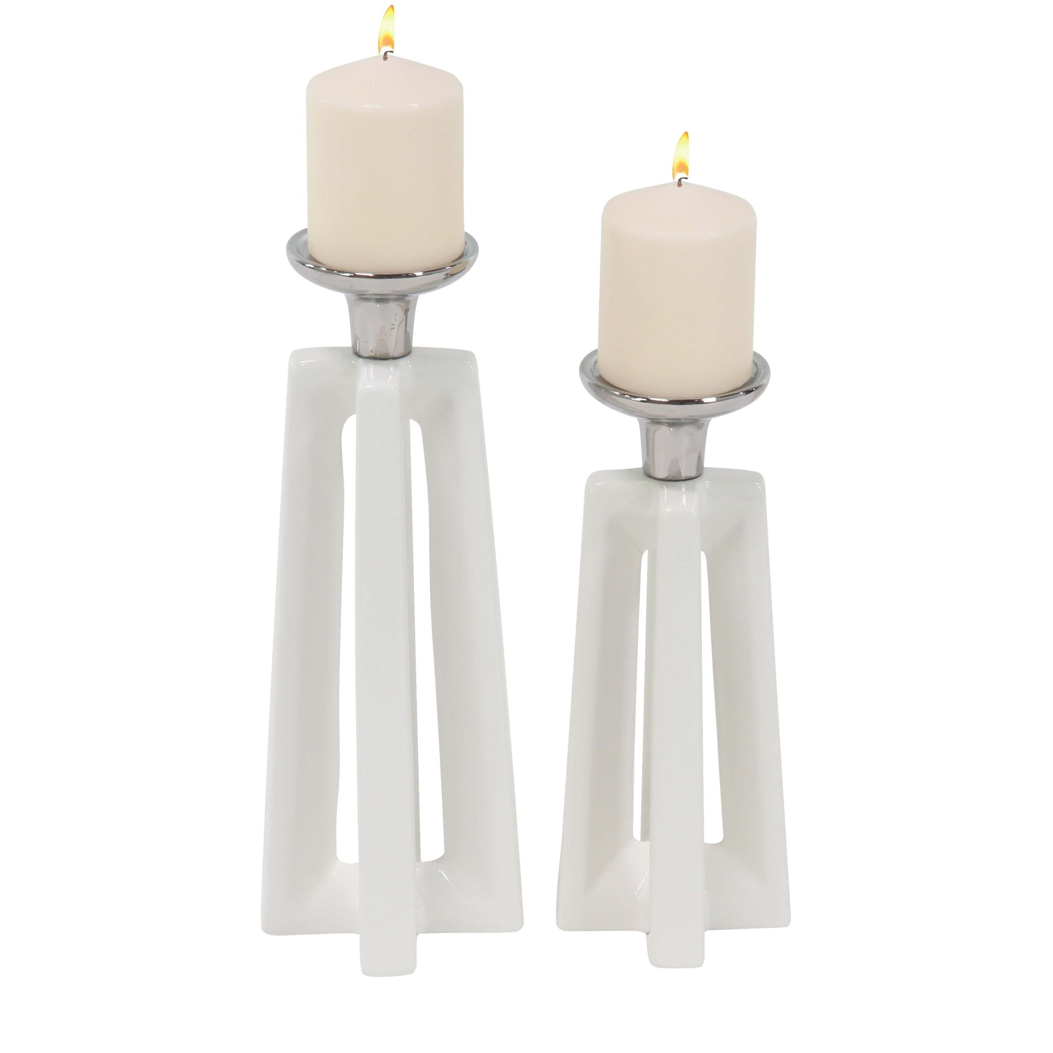 Shop Set of 2 Modern White Trapezoidal Cross-Frames Ceramic Candle ...