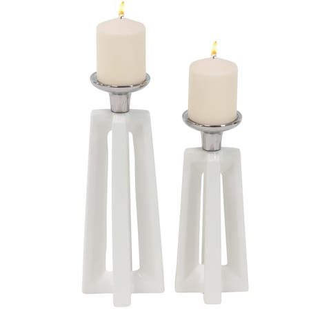 Strick & Bolton Buri Modern Ceramic Candle Holders (Set of 2)