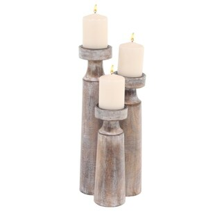 Set of 3 Rustic Mango Wood Cylindrical Whitewashed Candle Holders