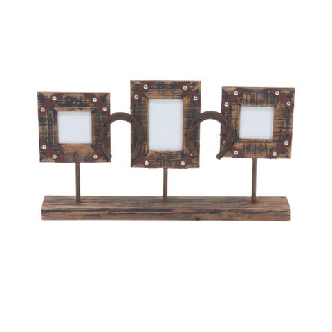 Rustic 3-Opening Wood and Iron Photo Frame with Stand