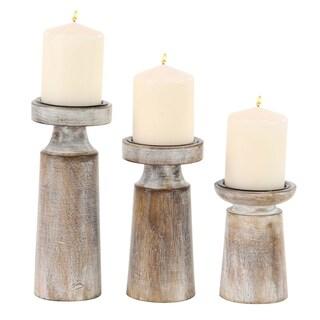 Carson Carrington Alavus Mango Wood and Iron Pedestal Candle Holders (Set of 3)