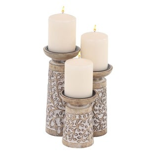 Set of 3 Rustic Mango Wood Flourish-Patterned Candle Holders