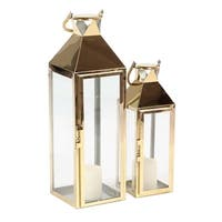 Set of 2 Gold Stainless Steel and Glass Lanterns