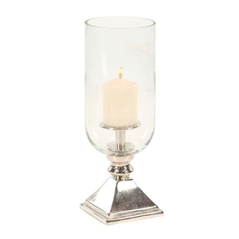 Silver Orchid Mackaill Aluminum and Glass Silver Hurricane Candle Holder