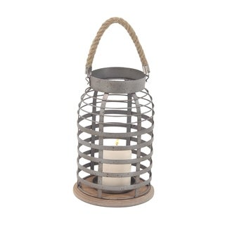 Rustic Iron and Wood Grid Frame Candle Lantern with Rope Handle