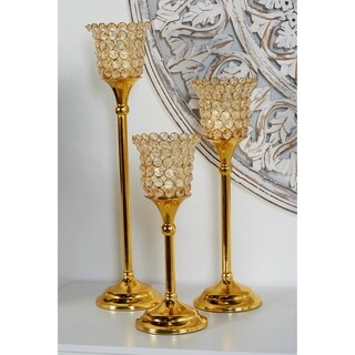 Set of 3 Modern Aluminum Gold Beaded Cup Candle Holders