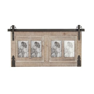 Traditional 4-Opening Wood and Iron Wall Photo Frame