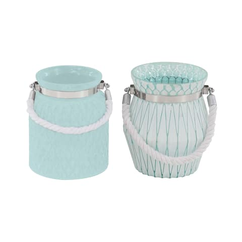 Porch & Den Mola 2-piece Modern Glass and Rope Geometric Designed Candle Lanterns