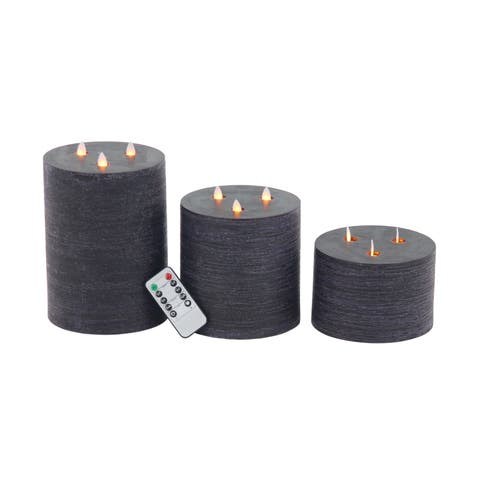 Porch & Den Merrie Lynn Modern Black LED Candles (Set of 3)