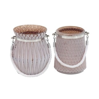 Havenside Home Buckroe 2-piece Modern Glass and Rope Geometric Designed Candle Lanterns