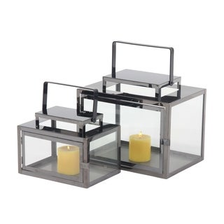 Set of 2 Modern Stainless Steel and Glass Rectangular Candle Lanterns