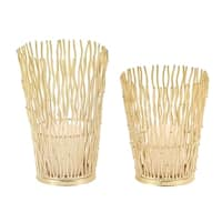 Set of 2 Modern Gold Wavy Iron Candle Holders