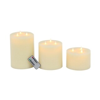 Set of 3 Modern Wax and Led White Flicker Candles