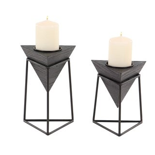 Carson Carrington Alavus Set of 2 Modern Black Triangular Wooden Candle Holders with Stands