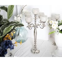 Modern Aluminum Silver 5-Light Beaded Candelabra
