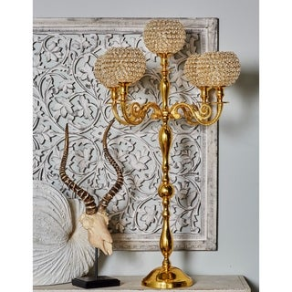 Traditional 5-Bobeche Aluminum and Acrylic Gold Beaded Candelabra