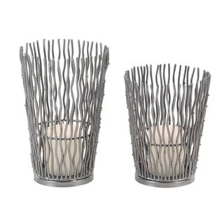 Set of 2 Modern Silver Wavy Iron Candle Holders