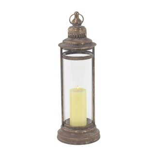 Copper Grove Chatfield Traditional Metal and Glass Lantern