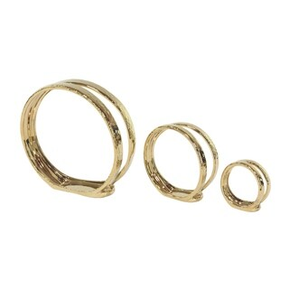 Oliver & James Buri Gold Ceramic Ring Candle Holders (Set of 3)