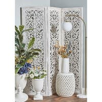 Rustic 69 x 60 Inch Wooden Whitewashed 3-Panel Screen by Studio 350