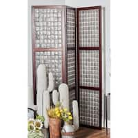 71 X 55 inch Traditional Wood and Capiz 3-Section Grid Panel Screen