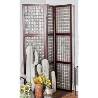 Farmhouse 71 Inch Wood and Capiz 3-Section Panel Screen by Studio 350