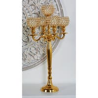 Modern Aluminum Gold 5-Light Beaded Candelabra