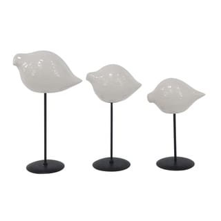 The Gray Barn Jartop Set of 3 Modern Ceramic White Birds with Metal Stands