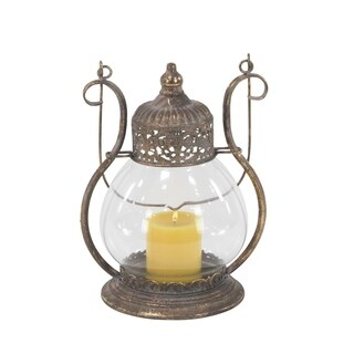 The Curated Nomad Lotta Traditional Iron and Glass Vintage Lantern