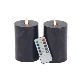 Clay Alder Home Mendota Set of 2 Modern Cylindrical Black Led Flicker Candles