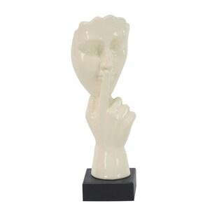 Clay Alder Home Hernando Modern Ceramic Ivory-Finished Hush Gesture Sculpture
